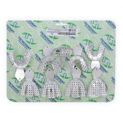 Kit de Moldeiras Adulto Perfuradas de Alumínio 9 peças - Tecnodent