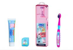 Kit Viagem Infantil Peppa Pig Escova + Creme dental + Fio dental - Dentalclean