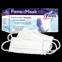 Máscara Tripla  Descartável com Elástico c/ 50 un.  Branca Fava